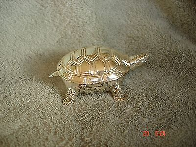 Silver Plated Tortoise Pill Box