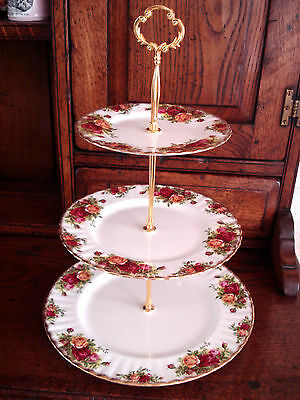 """Vintage Royal Albert  """"old Country Roses""""  .........  3 Tier Cake Stand ..."""
