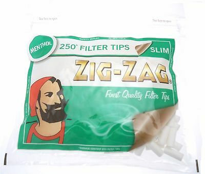 Cheapest 1,2,5,10,15 X 250 Zig Zag Menthol Slim Filter Tips Resealable Bag