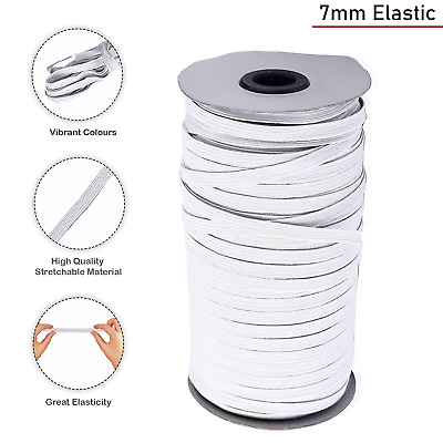 7mm WHITE FLAT ELASTIC CORD FOR CRAFTS RIBBON DRESS MAKING SEWING WAISTBAND
