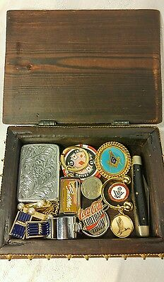 Vintage Men's Wood Trinket Box with 14 Miscellaneous Items