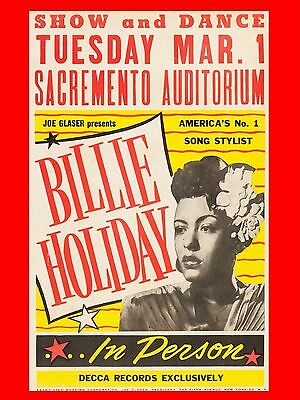 """Billie Holiday Sacremento 16"""" x 12"""" Reproduction Concert Poster Photo"""