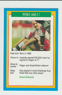 Rugby League : Shaun Edwards : Wigan : UK sports game card - blue back