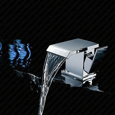 Monobloc Square Mixer Swoop Tap Bathroom Wide Waterfall Basin Hole Faucet Luxury