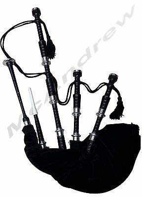 McAndrew SCOTTISH FULL SET PLAYABLE ROSEWOOD BLACK COLOR BAGPIPE Free Accesories