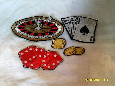 5 Vintage Casino Related Patches Roulette Cards Dice Chips