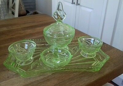 Art Deco Dressing Table Set in Green Glass