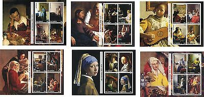 Jan Vermeer 6 Souvenir Sheets Mnh Imperforated