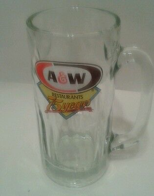 """A&W RESTAURANTS Tall 7"""" ROOT BEER MUG ~ """"75 YEARS"""" EDITION ~ HEAVY GLASS"""