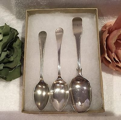 3 x ANTIQUE STERLING SILVER TEA SPOONS-1 x GEORGIAN-1804: 1 x EDWARDIAN-1917 + 1