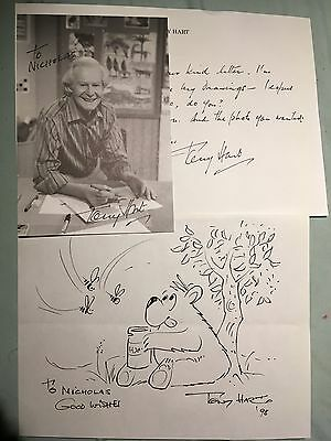 Original Tony Hart Autograph Signed Photo Sketch Drawing Morph Take Hart RARE