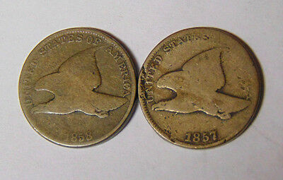 2 Flying Eagle Cents: 1857 1858 Circulated Coins (102216)