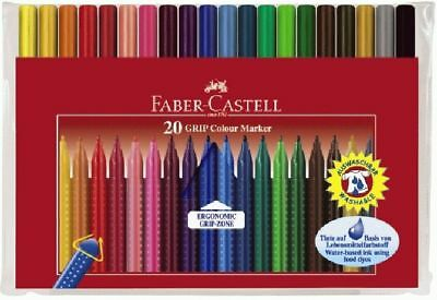 20 X Fasermaler Filzstifte Grip Colour Im Etui Faber Castell Top!!!