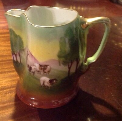 "Royal Bayreuth Vintage Small 3 1/2"" Scenic Pitcher Sheep Perfect!"