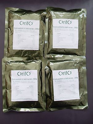 4 x Fruit Cocktail 300g Army Boil Bag Rations MRE Camping Fishing DofE
