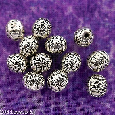 Antique Silver Alloy Metal Oval Beads 14 Pieces  7mm x 7.6mm  #0117