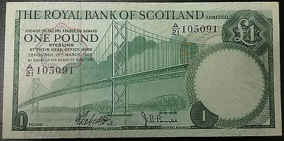1969 SCOTLAND £1 Pound Note Royal Bank Of P329a Crisp Lovely Old Money Currency