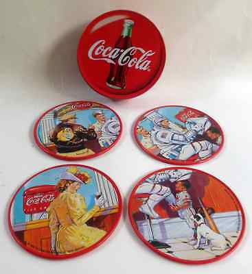 Lot 4 Coca Cola Coasters Tin with Cork Back ADVERTISING 1998 RARE Never Used