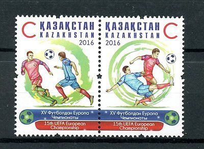 Kazakhstan 2016 MNH Euro 2016 Football Championship 2v Set Soccer Sports Stamps