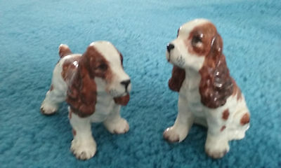 Spaniel Dog Salt & Pepper Shakers  Made in Japan Both Have Cork Stoppers