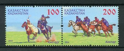 Kazakhstan 2016 MNH National Sports Horses Equestrian 2v Set Stamps