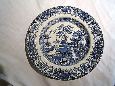 Vintage English Ironstone Blue & White Old Willow Pattern Plate 9.5""