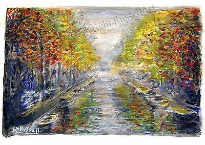 A Splash of Autumn in Amsterdam Signed Art Print of original RussellArt Painting