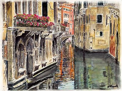 Reflections of Venice Signed SRussell Art Print of original Watercolour Painting