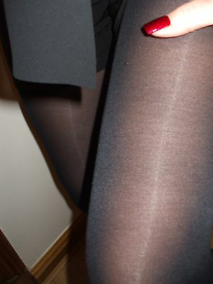 Black Opaque work tights. size med large. worn/washed