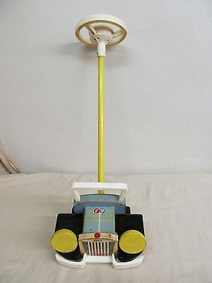 Vtg 1962 Fisher Price 875 Looky Push Car w/Long Stick & Steering Wheel & Horn
