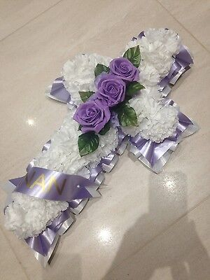Artificial Flower Cross Lilac White / Funeral/Remembrance with personalised sash