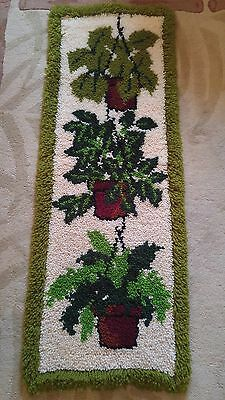 """Vintage Hanging Plants Latch Hook Rug Wall Hanging - 48"""" x 18"""" - Completed"""