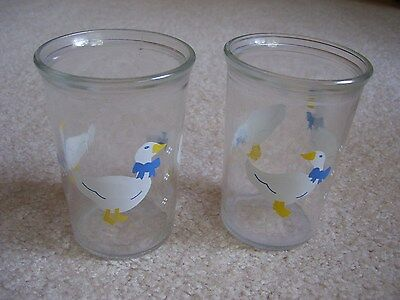 Two  Jelly Jar Glasses White Geese With Blue Bows