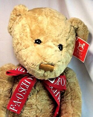 "FAO Schwarz 2000 Tan Jointed Teddy Bear w/ Red Bow LARGE 21"" Stuffed Plush NWT"