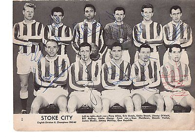 Stoke City 1963 Team signed by all of the team Very rare