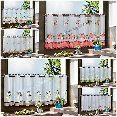 """Voile Cafe Net Curtains 12"""" 24"""" 35"""" Drop Sold by the Metre Kitchen Decoration"""