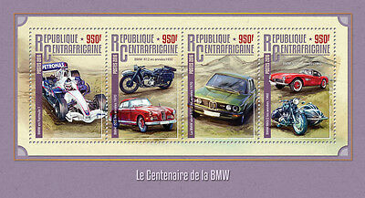 Central African Republic 2016 MNH BMW Centenary 4v M/S Cars Motorcycles Stamps