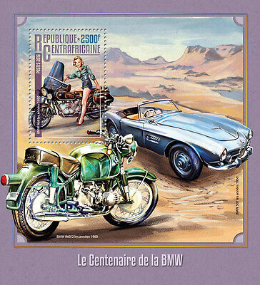 Central African Republic 2016 MNH BMW Centenary 1v S/S Cars Motorcycles Stamps