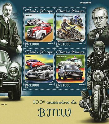 Sao Tome & Principe 2016 MNH BMW 100th Anniv 4v M/S Motorcycles Cars Stamps