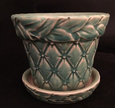 """Vintage McCoy Pottery Diamond Quilted Aqua Blue 4""""d x 3 1/4""""h Planter with Tray"""