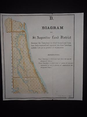 St Augustine Florida 1855 Map Hand Color River Lakes Townships