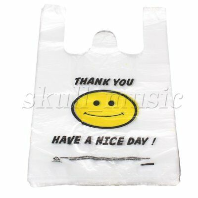 100pcs Plastic Carry Shopping Bags Smiley Smiling Smile Face Pattern 26 x 40cm