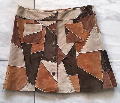 """Suede Patchwork Button Front Skirt W28"""""""