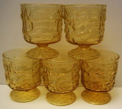 5 Anchor Hocking Footed Lido Sherbets Amber Glass 8 Ounces