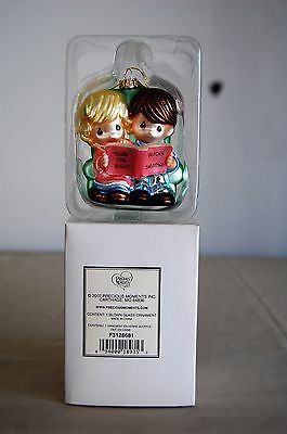 2007 Precious Moments Blown Glass Ornament The Night Before Christmas Boy Girl