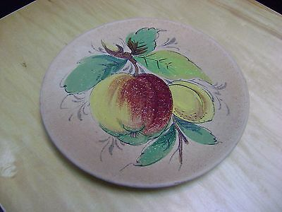 Vintage Hand Painted Peach Lemon Terracotta Wall Plate Pottery From Italy