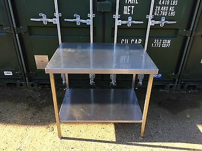 Commercial Catering/ Workshop Stainless Steel Table, With Shelf, Adjustable Legs
