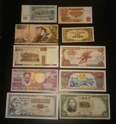lot of 10 World Banknotes UNC