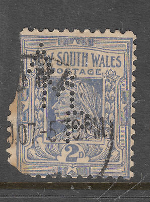 NEW SOUTH WALES 2d Queen Vic. Private Perfin *A M P *   USED