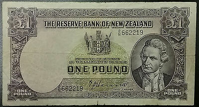1940 NEW ZEALAND £1 Pound HANNA 1ST ISSUE Captain James Cook Old Money Currency